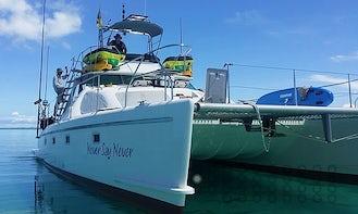 Charter 40ft Power Catamaran for Fishing, Scuba Diving & Island Hopping in Zanzibar