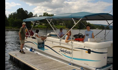 Rent a 25' Sanpan Pontoon Boat on Long Lake near Sinclair, Maine