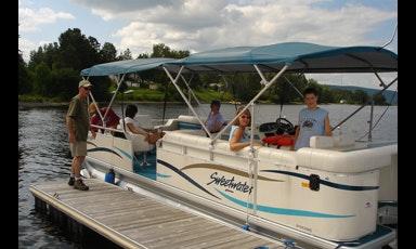 Rent A 25 Sanpan Pontoon Boat On Long Lake Near Sinclair Maine