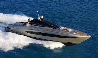 Hit the water in Mykonos, Greece on 63' Power Mega Yacht Riva Vertigo