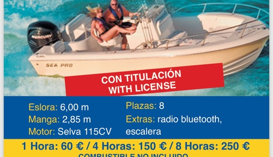 8 Person Center Console Rental In Altea, Spain