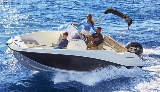 An 18' Quicksilver Activ 555 Center Console Rental In Vallauris, France