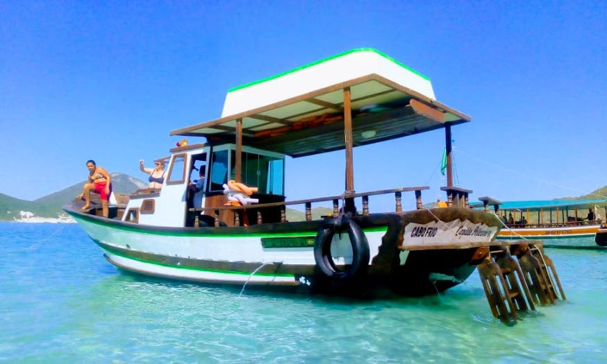 Explore the beaches of Arraial do Cabo, Brazil on this amazing Trawler Boat!