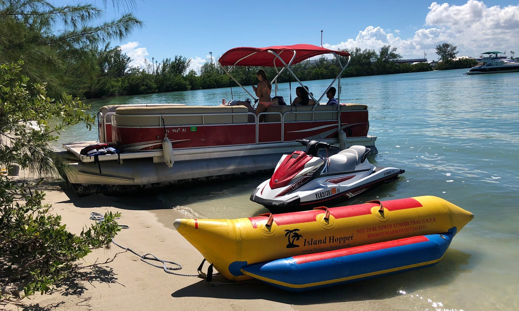 Pontoon rental in Miami Beach with Bimini Cover for Shade