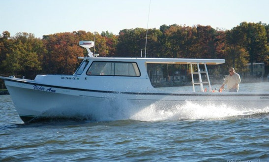 Charter A 38 Ft Evans Somerset Cuddy Cabin Fishing Boat For 6 People In Deale, Maryland