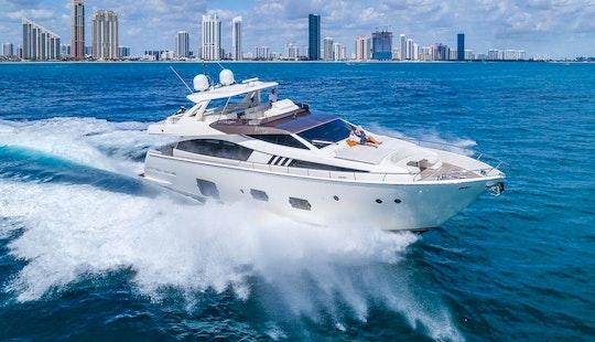 Luxury Yacht Rentals - 80' Ferretti - Miami, Florida Keys, The Bahamas!