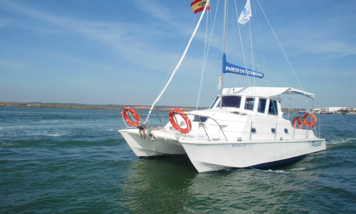 """Princess"" White Catamaran For Charter in Huelva, Spain!"
