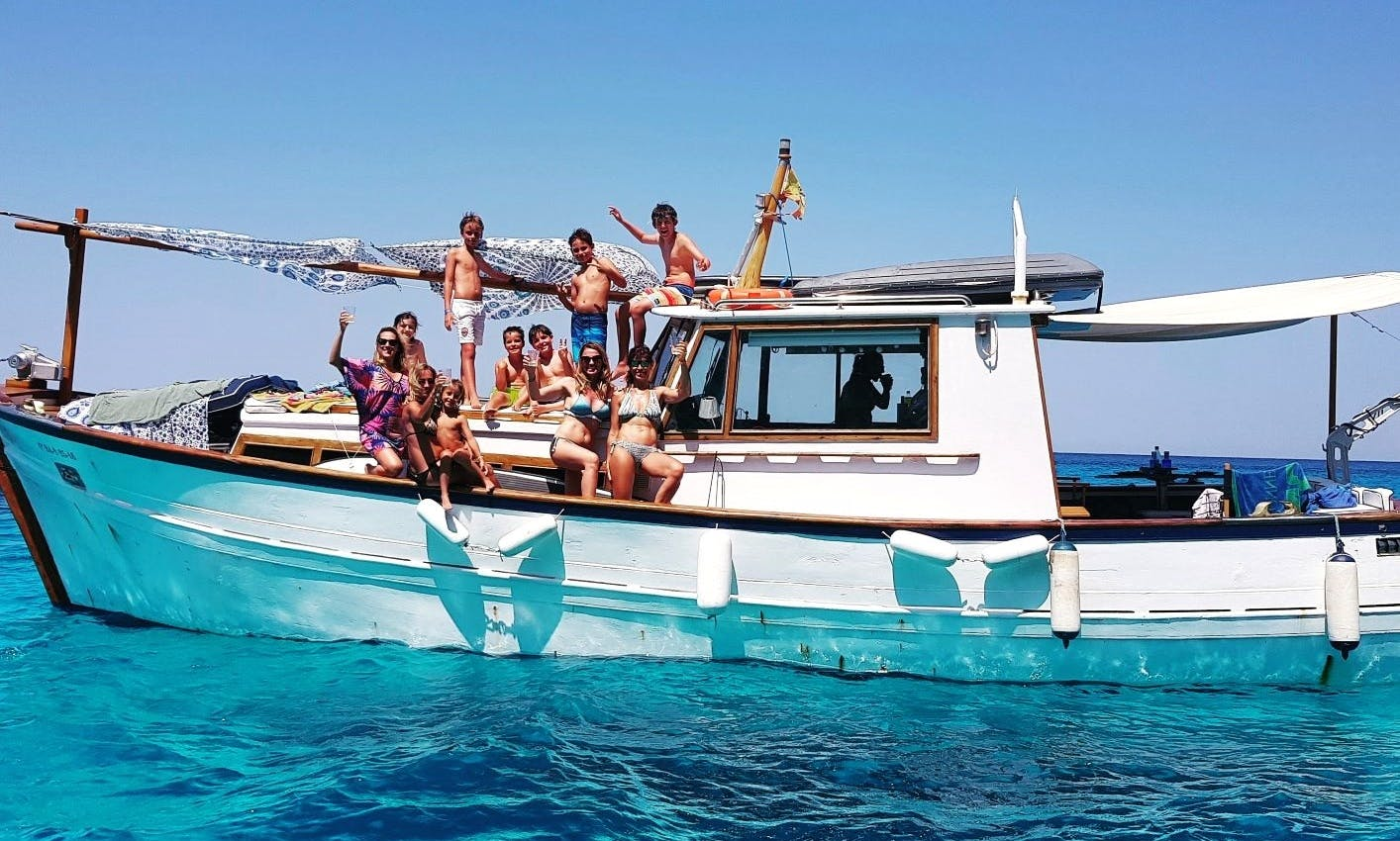 Private Charter On-board a 43 ft Trawler for 12 People in Formentera, Spain