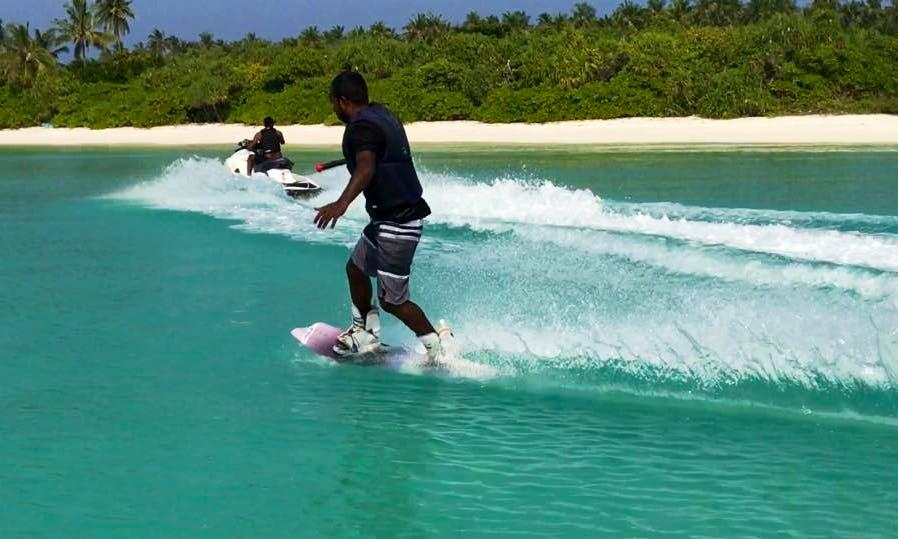 Wakeboarding in the beautiful beach of Kelaa, Maldives!
