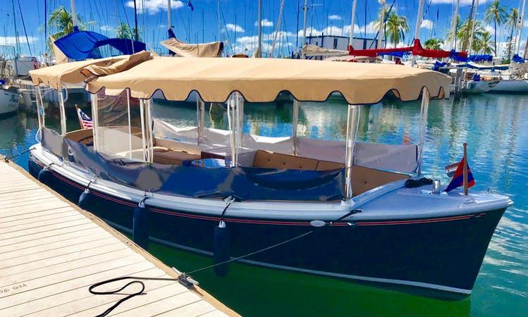 Electric Boat Cruise in Honolulu -  from the Ala Wai Boat Harbor, Honolulu, Hawaii.