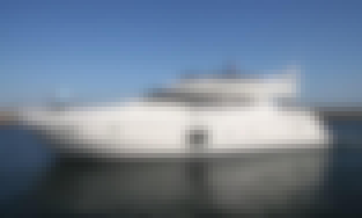 Full Day Sailing on a 59ft Ferretti Power Mega Yacht in Setúbal, Portugal