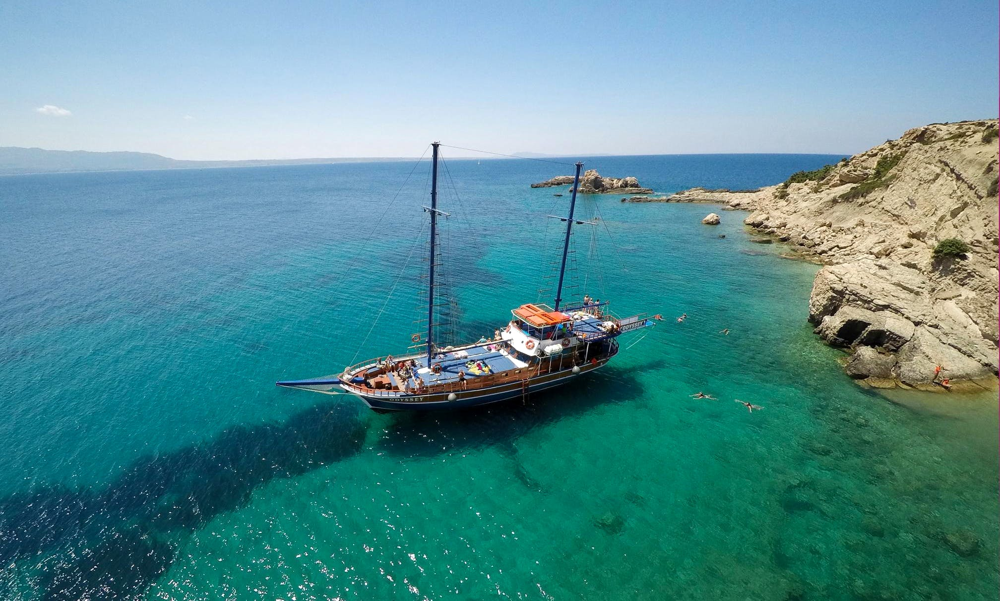 From the Port of Kos: Full Day Boat Cruise to 3 Islands!