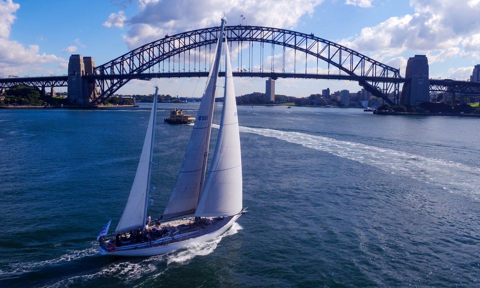 Swan 65 ketch in Sydney Harbour