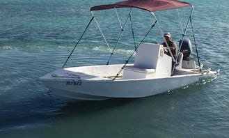 Awesome 16' Skiff Center Console available for rental at Long Island, Bahamas