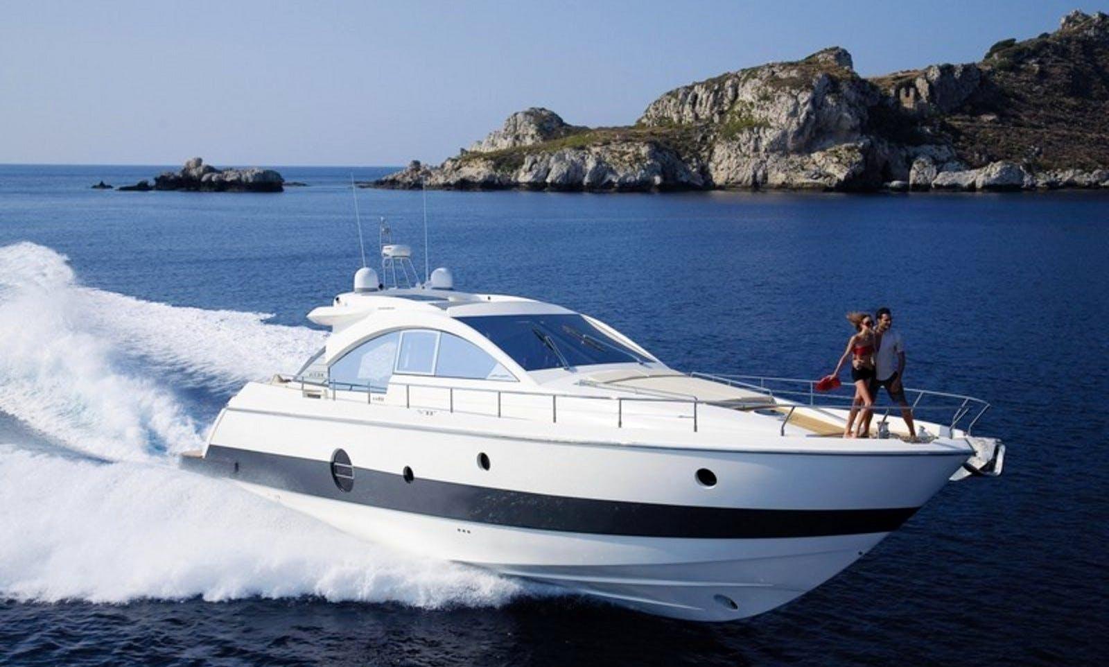 AICON 62 SL Moto Yacht Charter for 12 People in Portofino, Italy