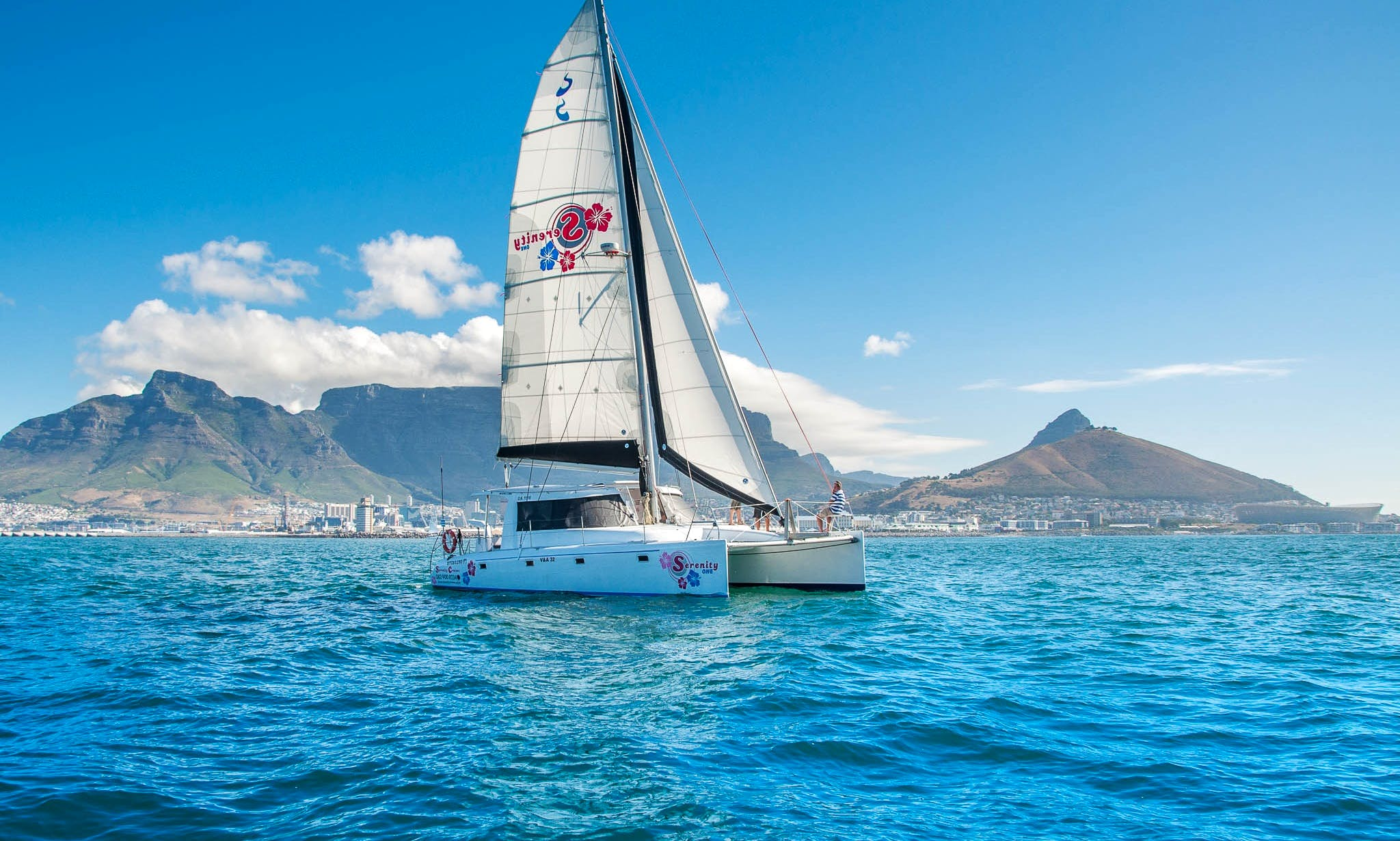 Serenity One Luxury Sailing Catamaran for Private Charter Hire in Cape Town