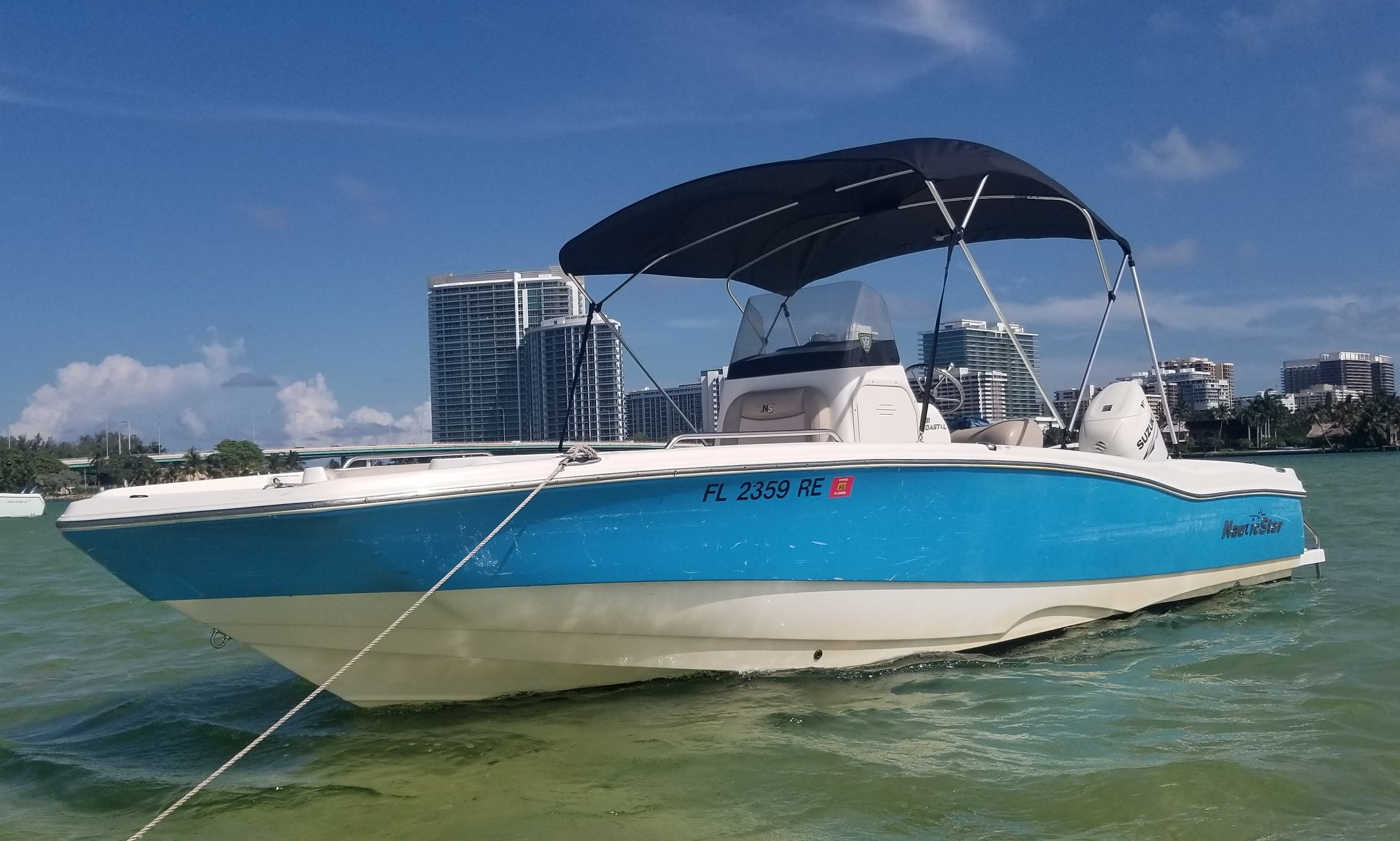 Deck Boat Rental for Up to 10 People in Sunny Isles Beach, Florida