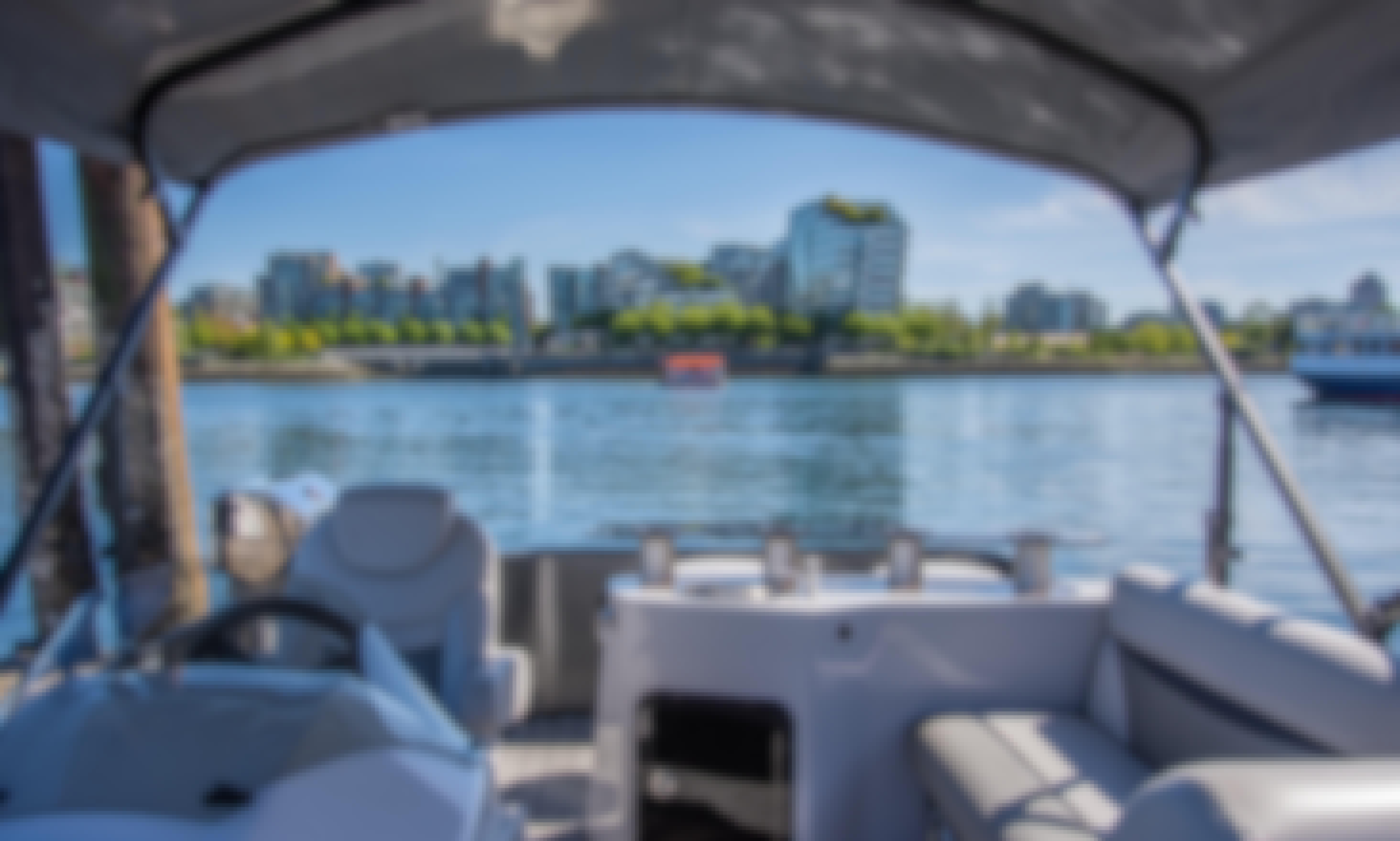 Stanley Park, False Creek Tour! Pontoon Rental in Vancouver, British Columbia
