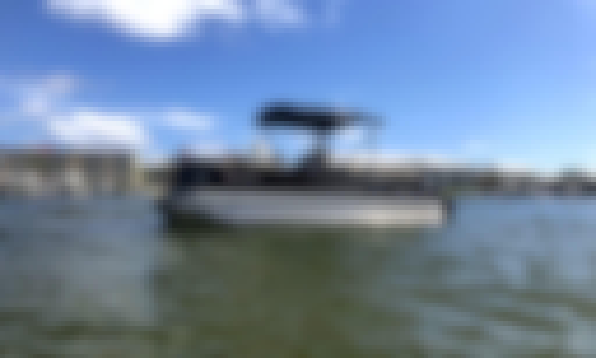 25' Black Veranda Tritoon for 10 People in Orange Beach, Alabama