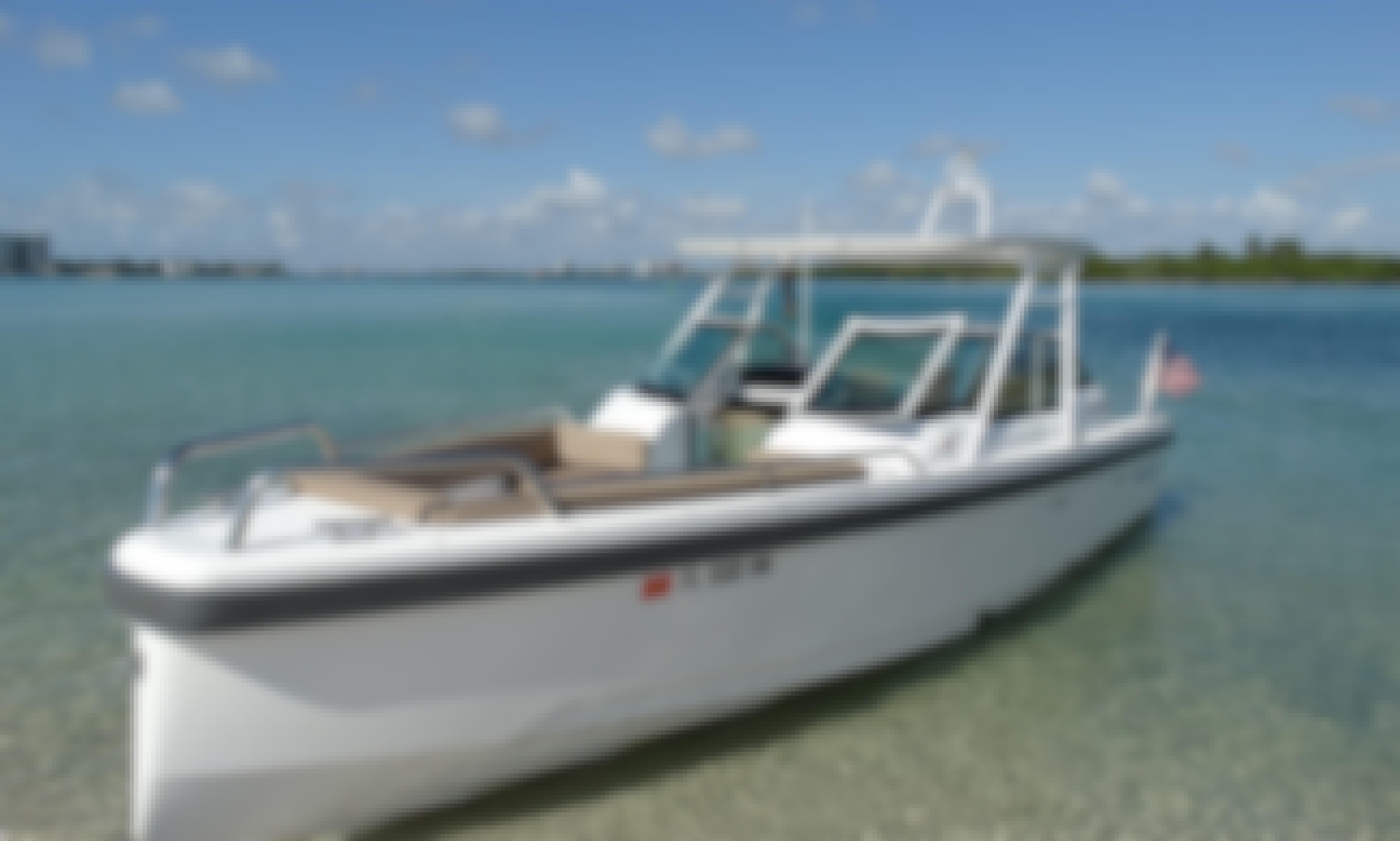 Luxury Sandbar and Sightseeing Aboard a 6-Person Axopar Walk Around Boat in Miami, Florida