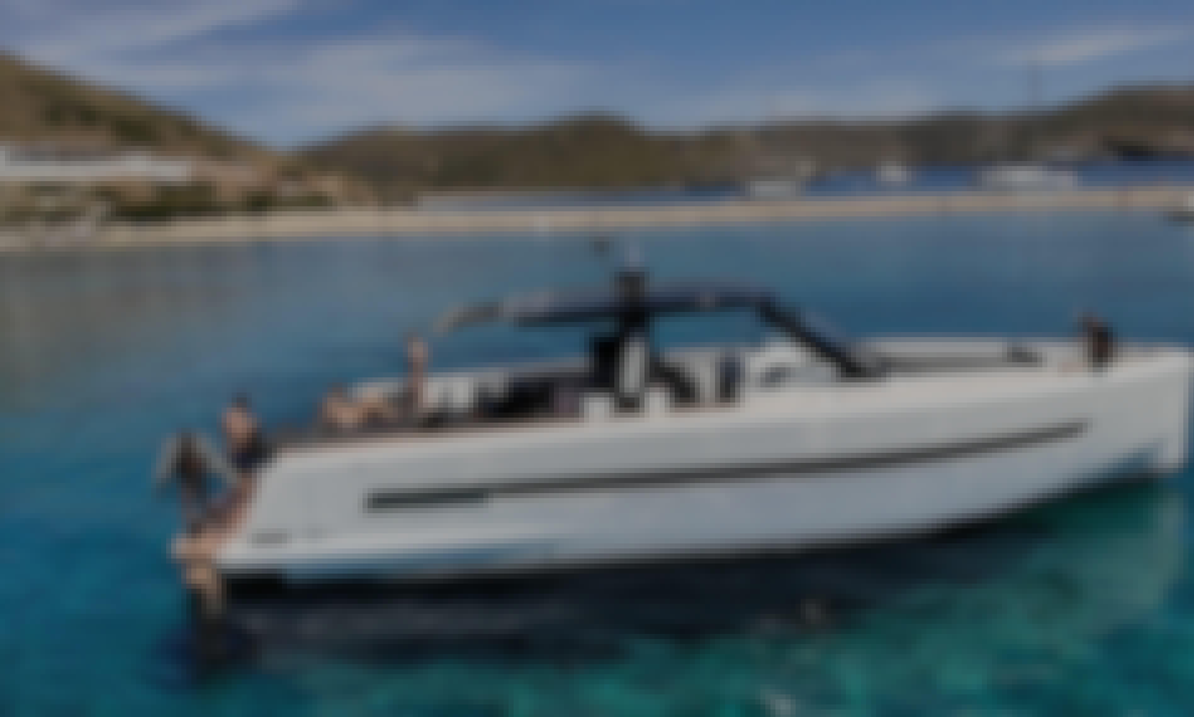 48' Fjord Motor Yacht Rental in Santorini, Greece!