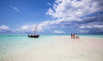 Zanzibar dhow boat rental sunset or snorkeling trip