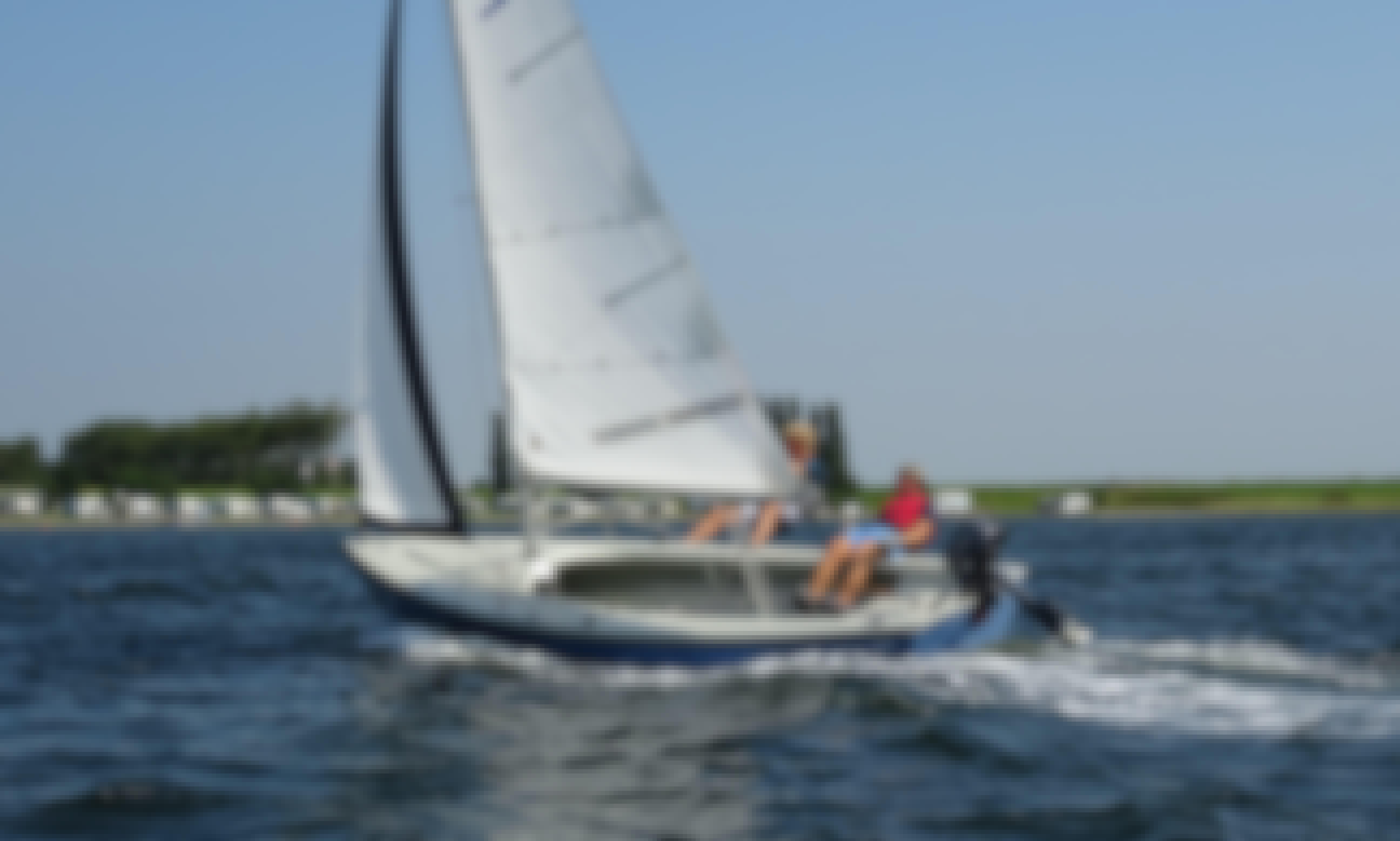 Sail the lake in Zeeland with this 22' Randmeer Sailboat