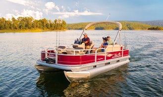 Beautiful Red Pontoon Boat for Rent on Lake Athens or Cedar Creek Reservoir, TX- Cruising, Exploring, Fishing