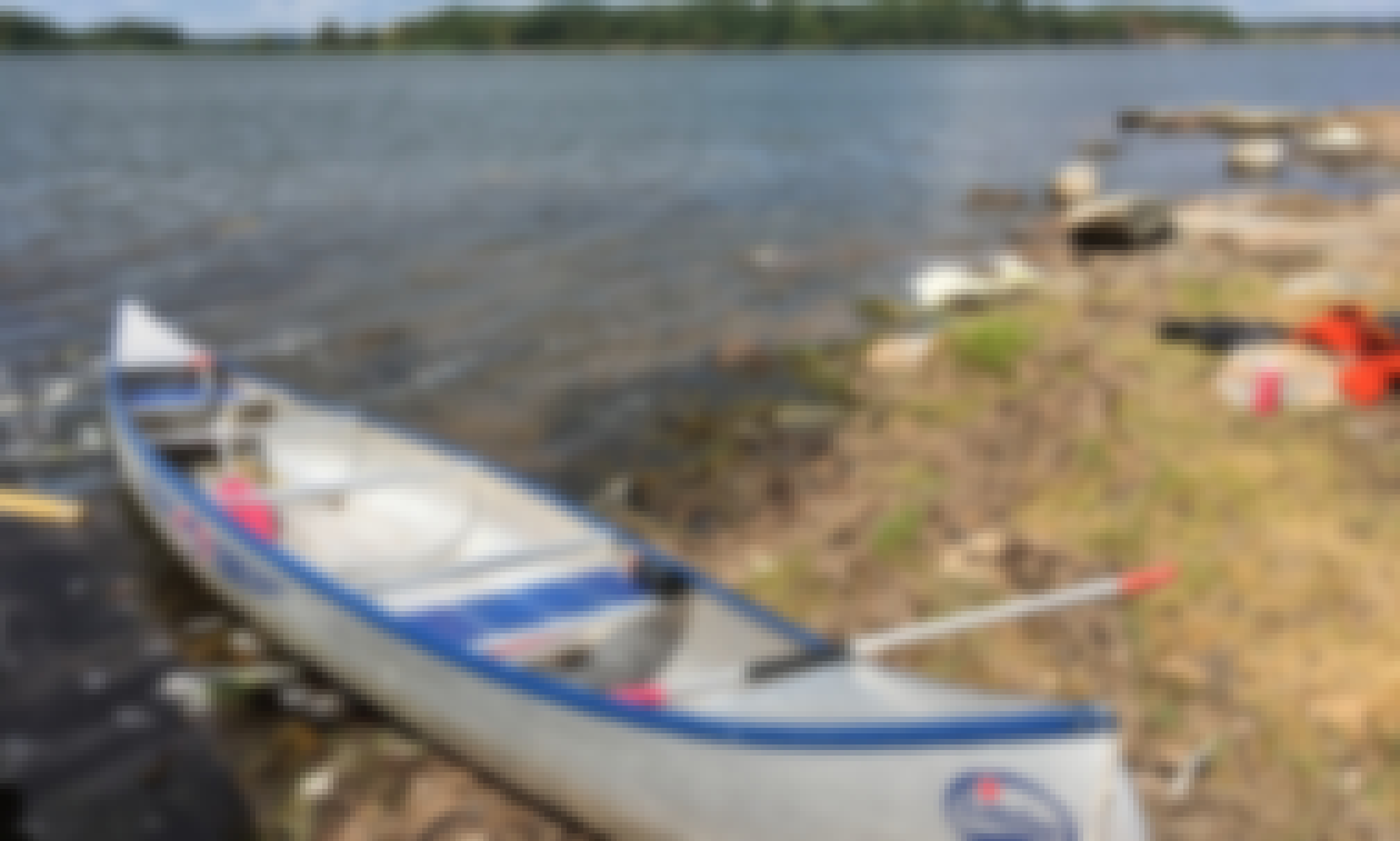 Canoe for rent in southern Sweden, lake Agunnaryd on great trail (kanotleden)