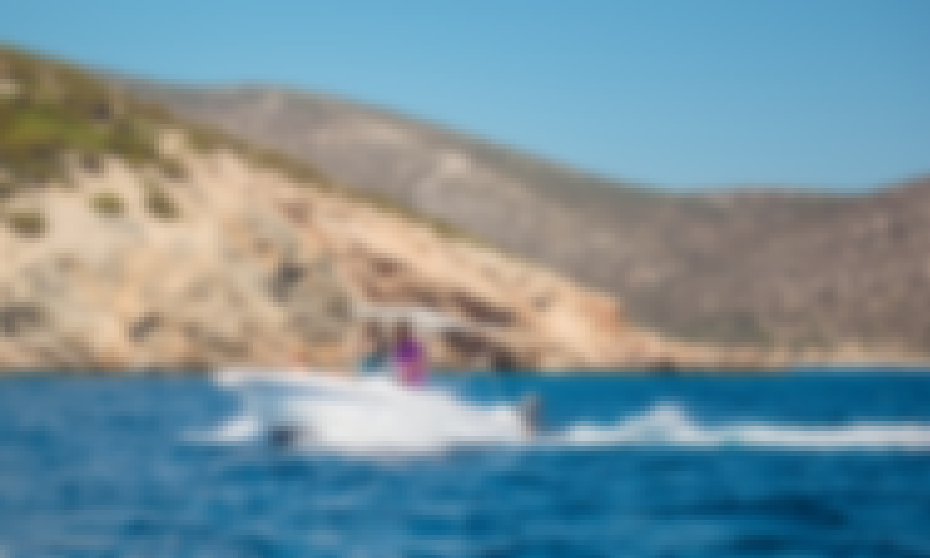 Rent boat in MILOS at Agia Kyriakh beach (olympic 4.5cc with 30hp)