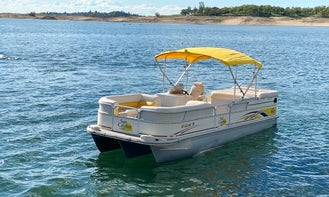 Party Barge Tritoon Powered 150 Hp Engine with Bimini Top in Lake Tahoe