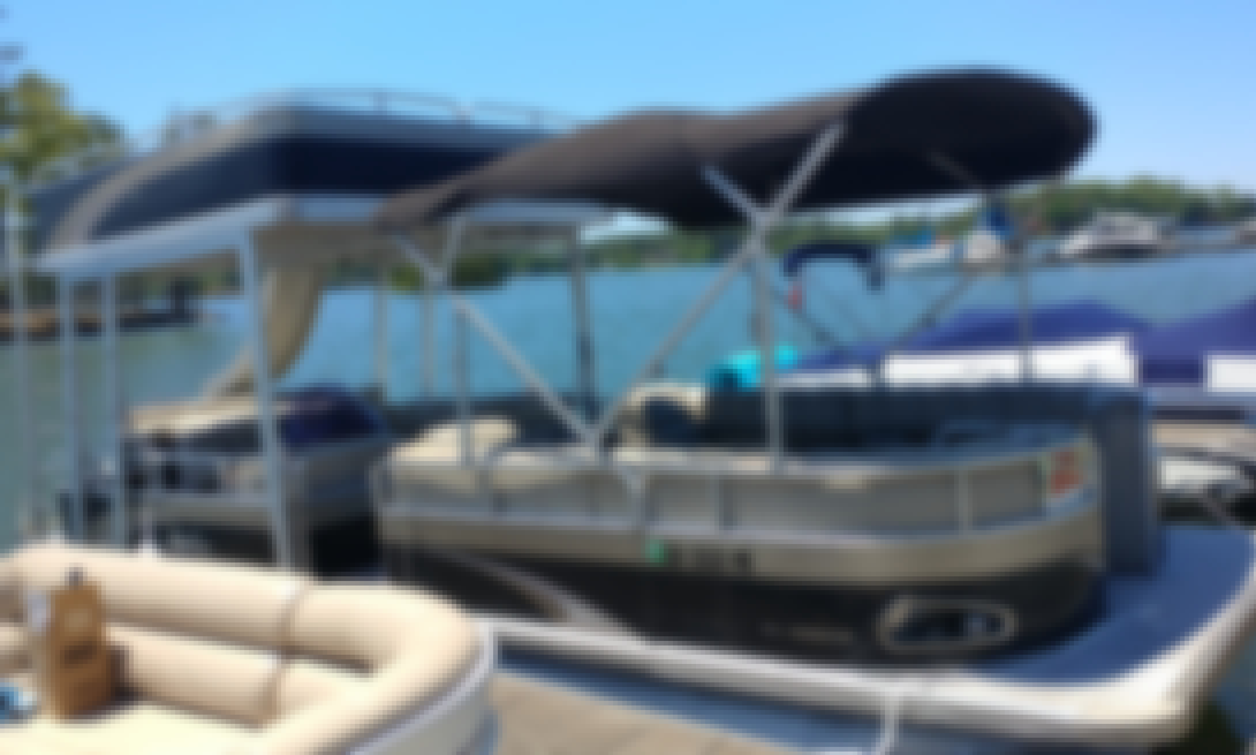 Avalon Funship Pontoon Boat With Water Slide on Lake Martin, Alabama