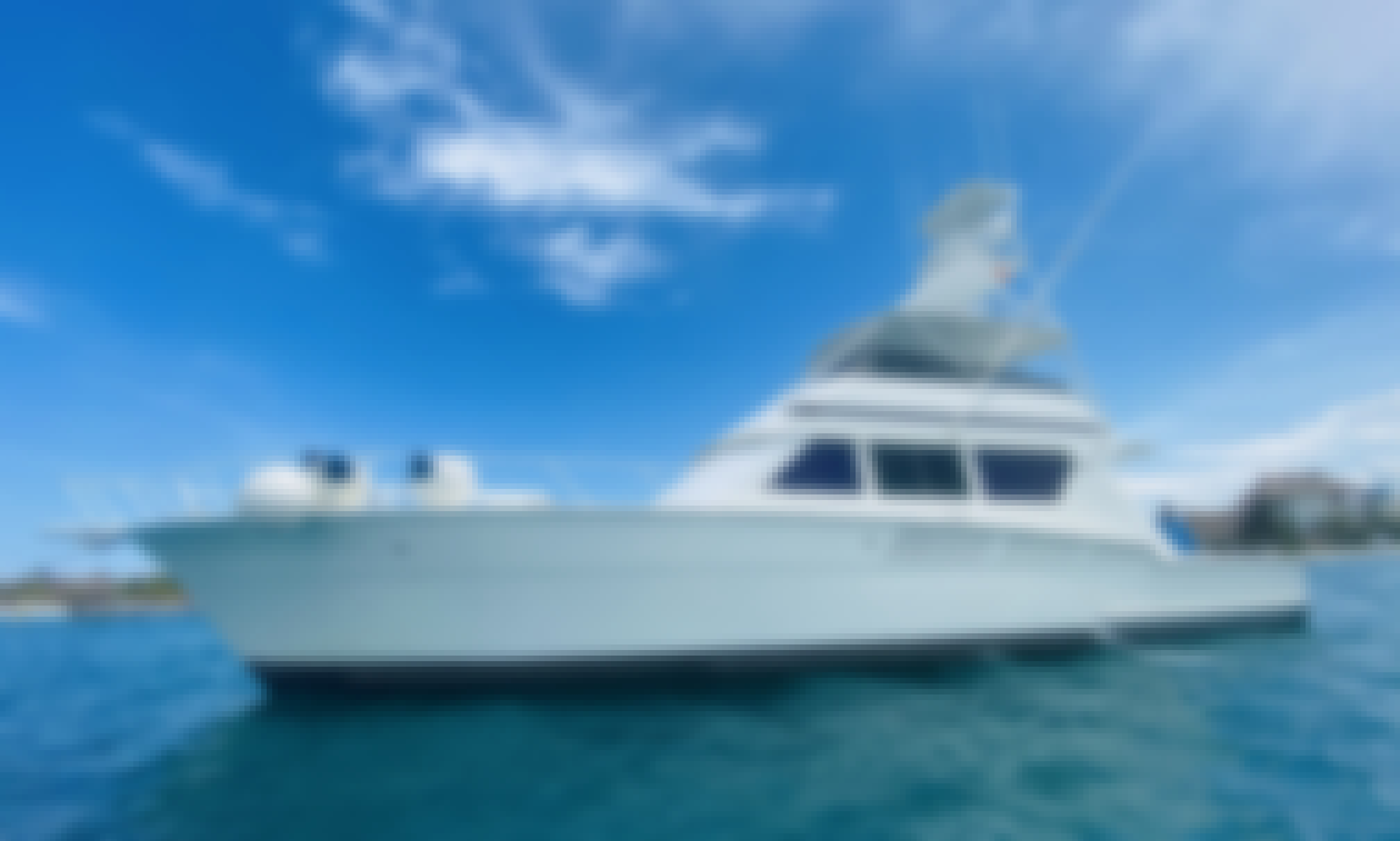 Cancun fishing hatteras 60ft largest yachts/ Round trip transportation included Hotel-Marina-Hotel