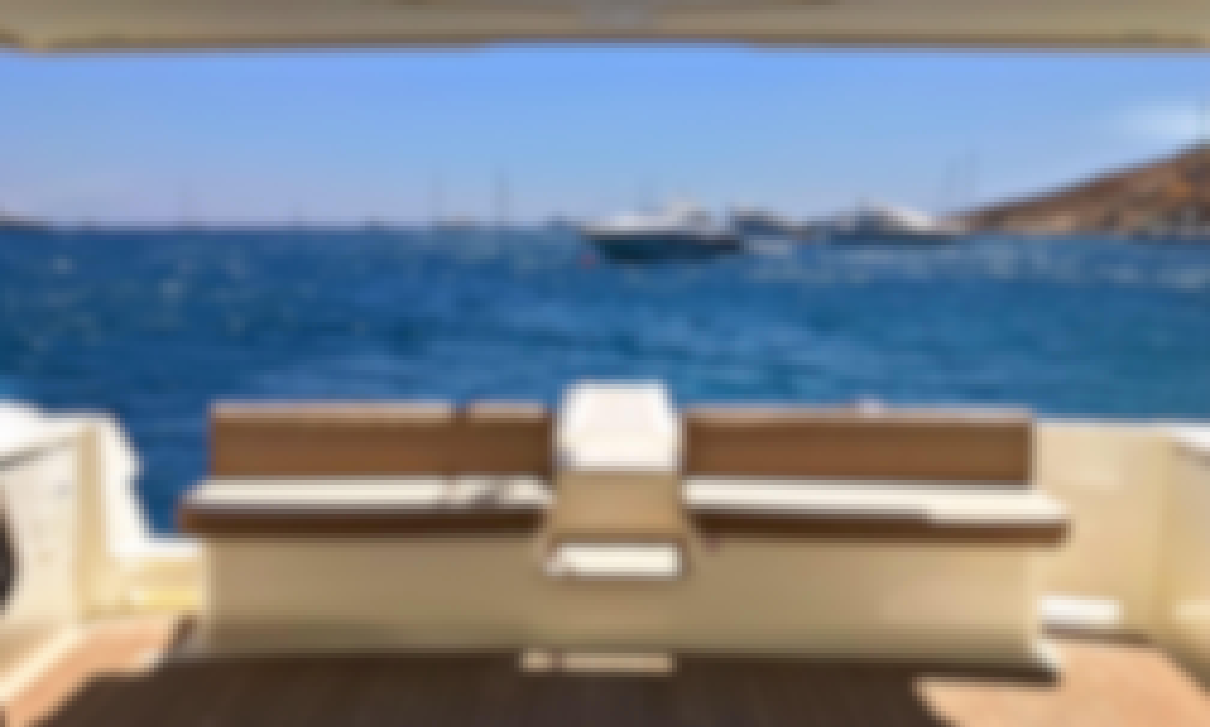 "Crewed Charter the Ferretti 48 ""AlexandraS"" Motor Yacht in Ornos, Greece"