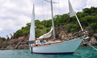 """Half Day Private Charter in US Virgins Islands onboard 43' Wooden Sailing Yacht """"Cimarron"""" with Captain Rick"""