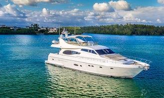 73' Ferretti Flybridge Power Mega Yacht Charter in Miami Beach, Florida