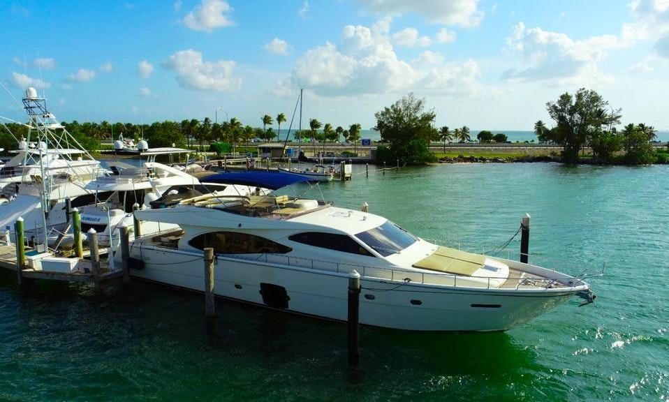 80' Ferretti Flybridge Power Mega Yacht Rental in Miami Beach | GetMyBoat