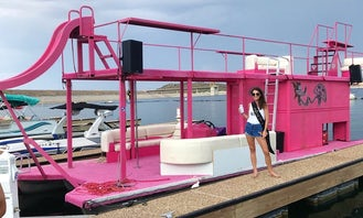 Incredible 40ft Pink Party Barge for 20 People in Peoria, Arizona.