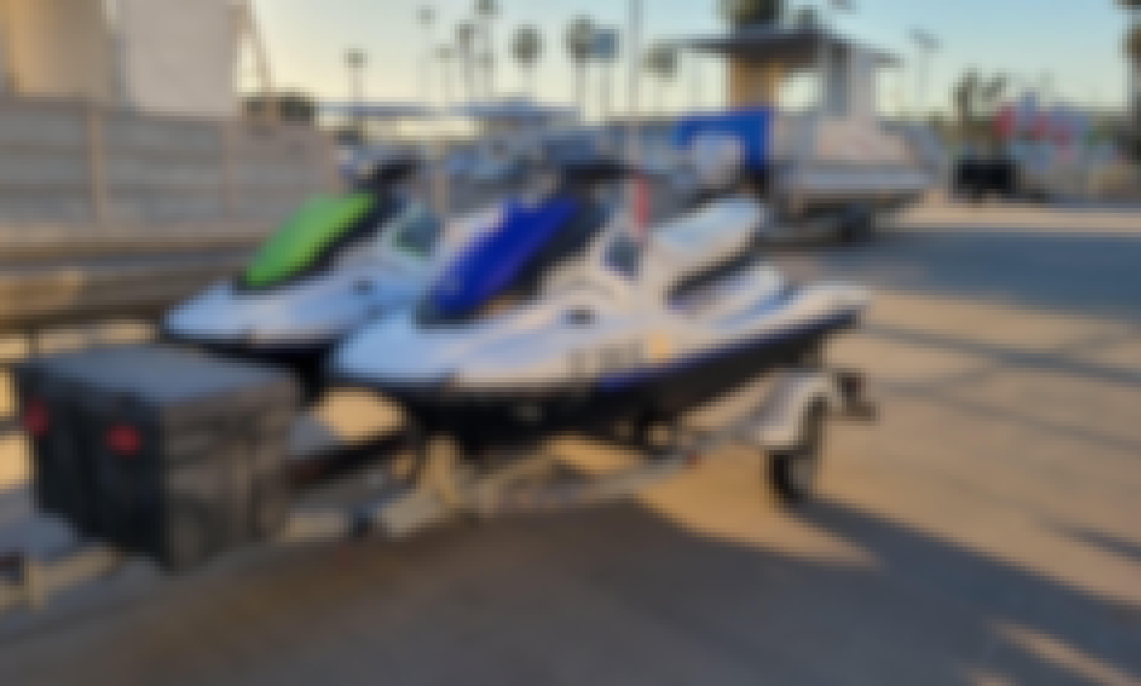 Enjoy Mission Bay on Yamaha EX Waverunners!! Rent 1, 2, or 3 Jetskis