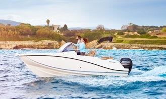 "Rent the ""Saturno"" Quicksilver 605 Sun Boat in Cap d'Artrutx, Illes Balears"