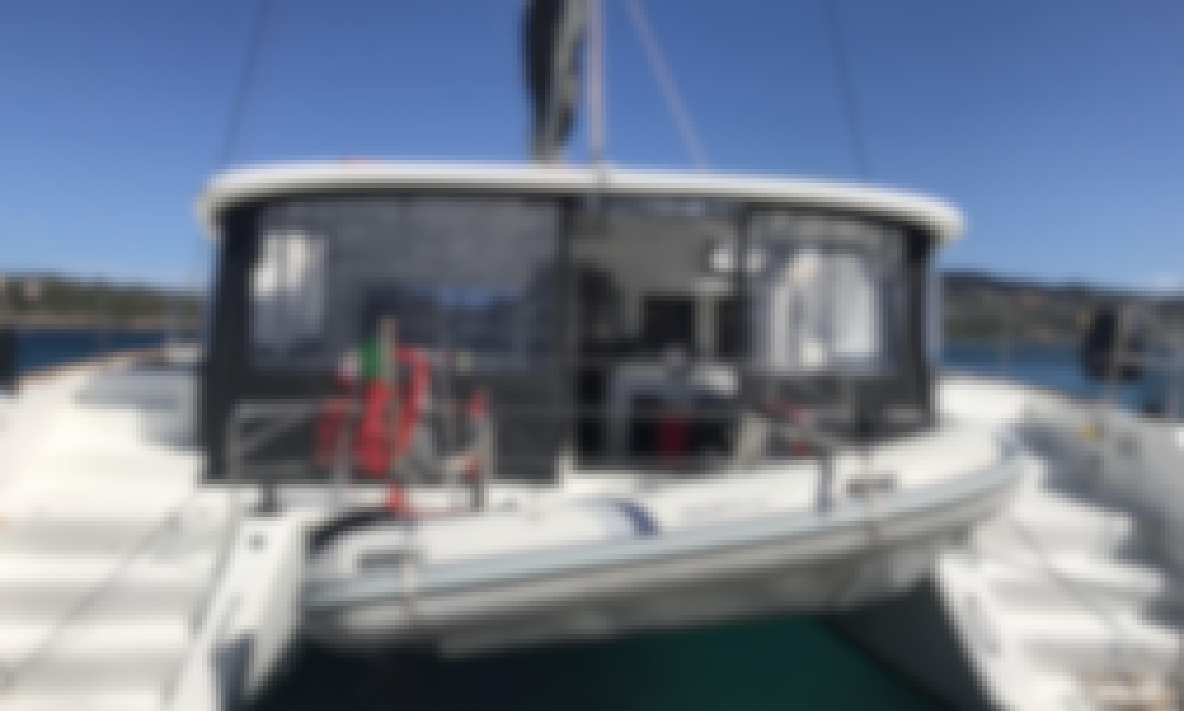 Sail the water of Sardinia with this Lagoon 450 Flybridge Catamaran!