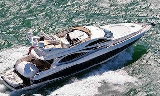 Sunseeker 64 Luxury Fly Bridge Yacht in Cancún, 5 hours minimum rental