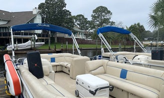 Crab Island Pontoon - paddleboard, ice, coolers, PA speaker, floats, included