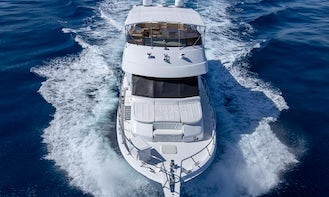 82' Hatteras Motor Yacht Charter, can host up to 50 guests!