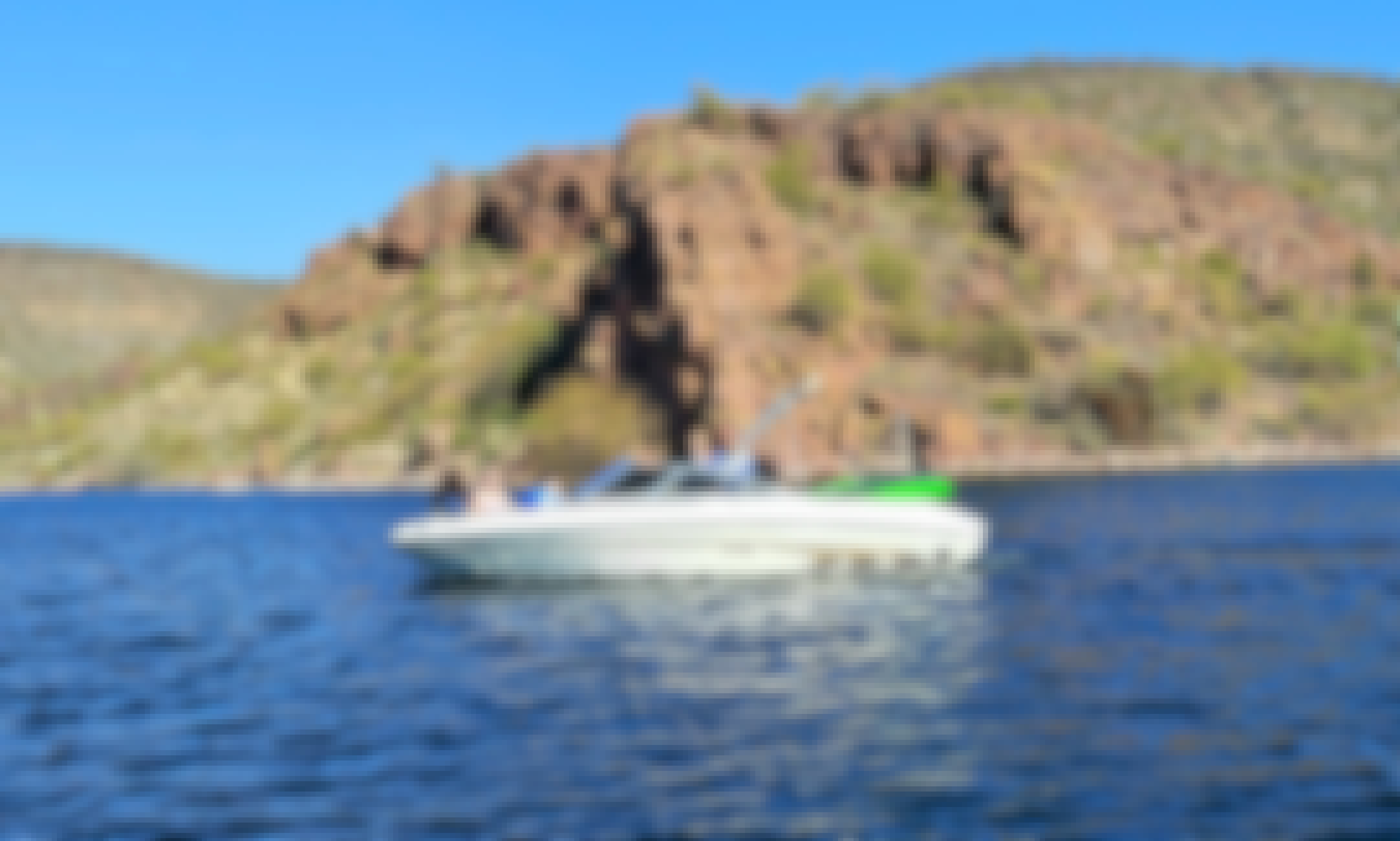 Beautiful 19 foot Sea Ray with room for 8, a tube for 3, and water skis. All with a lake view. Reserve today.