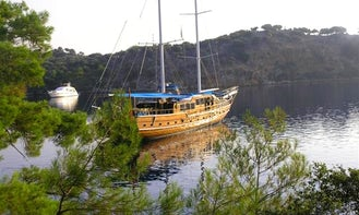 GRAND ACAR  This wonderful luxury gulet sailing at the coasts of aegean and Mediterranean is 32 meters long and for 18 people