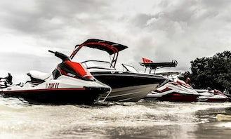 Jet boat with 2 jet ski's for rent