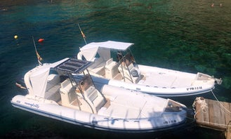 Hire a 27' King 820 Rigid Inflatable Boat for 12 Person in Port de Sóller, Illes Balears