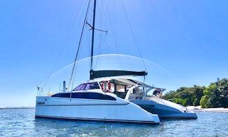 Sydney Harbour Charter on SPELLBOUND a luxury 12m Sailing Catamaran. Maximum 25 guests.