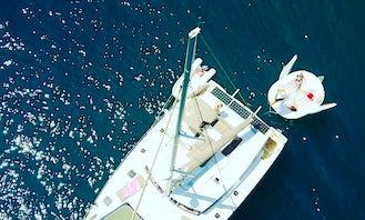 Beautiful 44' Fontaine Perjot executive catamaran - true VIP Style for 10-12 guests